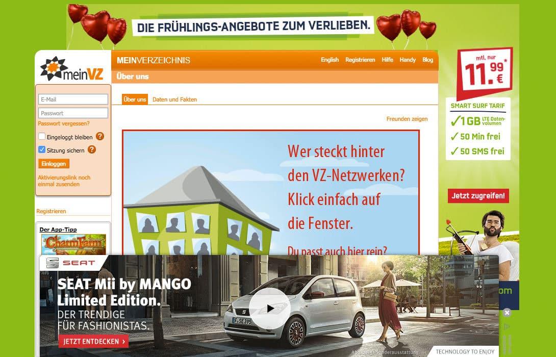 meinVZ Netzwerk Werbung