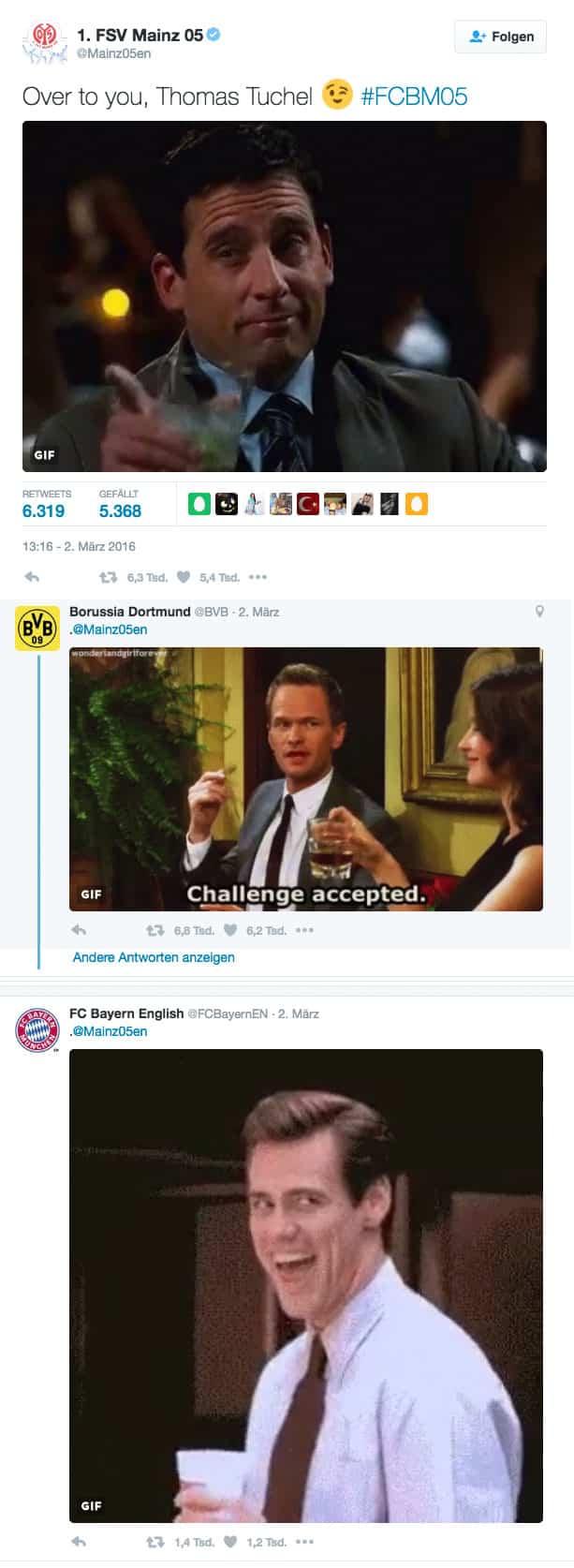 Mainz 05 BVB FC Bayern Twitter