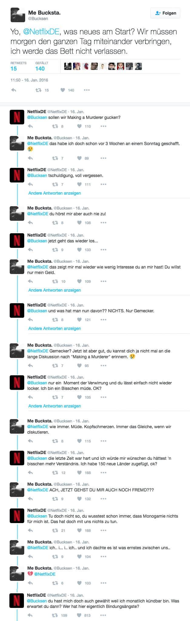 Netflix Twitter Beziehung