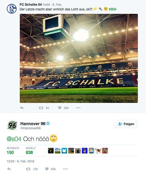 Schalke 04 Hannover 96 Twitter Licht