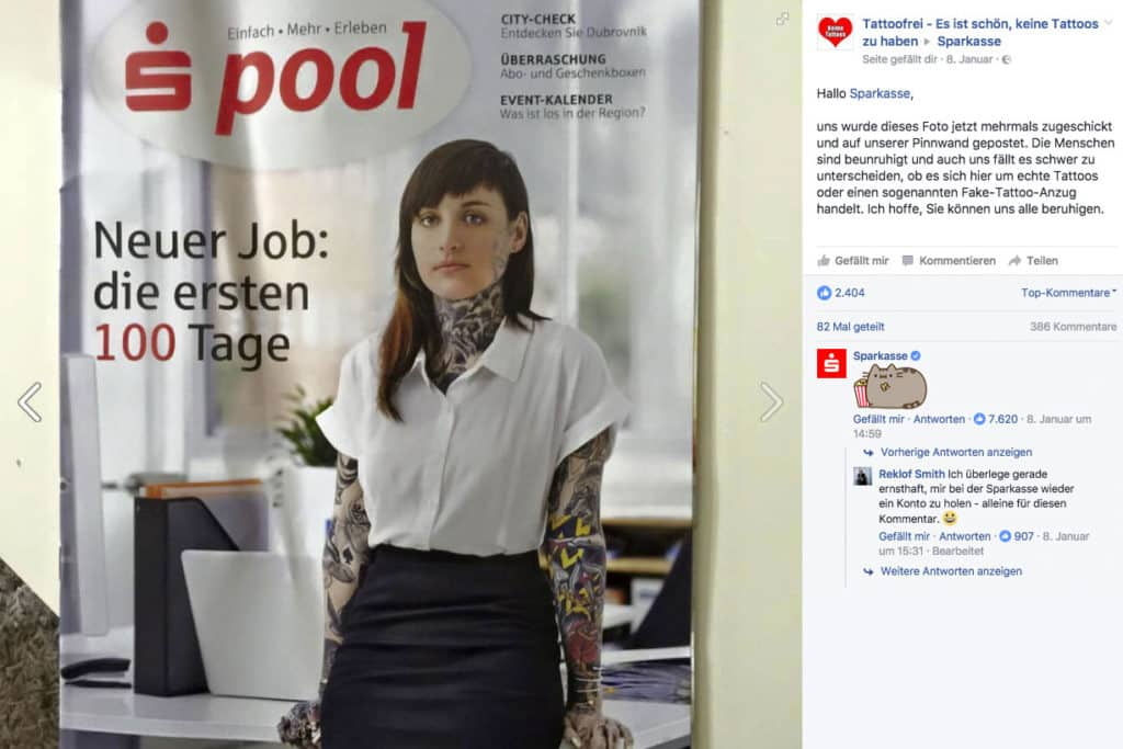 Sparkasse Tattoofrei Facebook Konveration